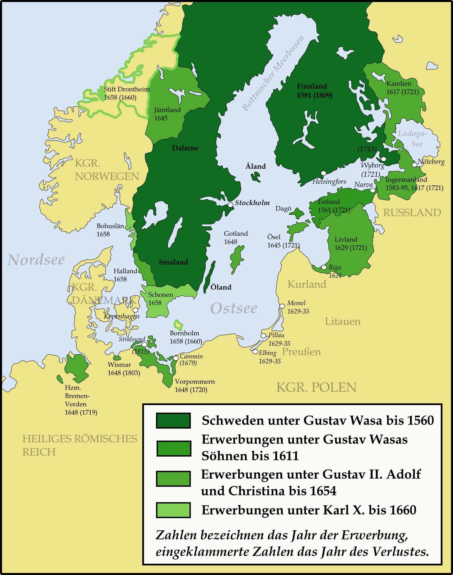 Karte Schweden von Gustav Vasa bis 1660