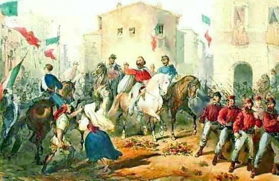 Fichier:Perrin C. lith. - Entrata di Garibaldi in Messina - litografia - 1861.jpg