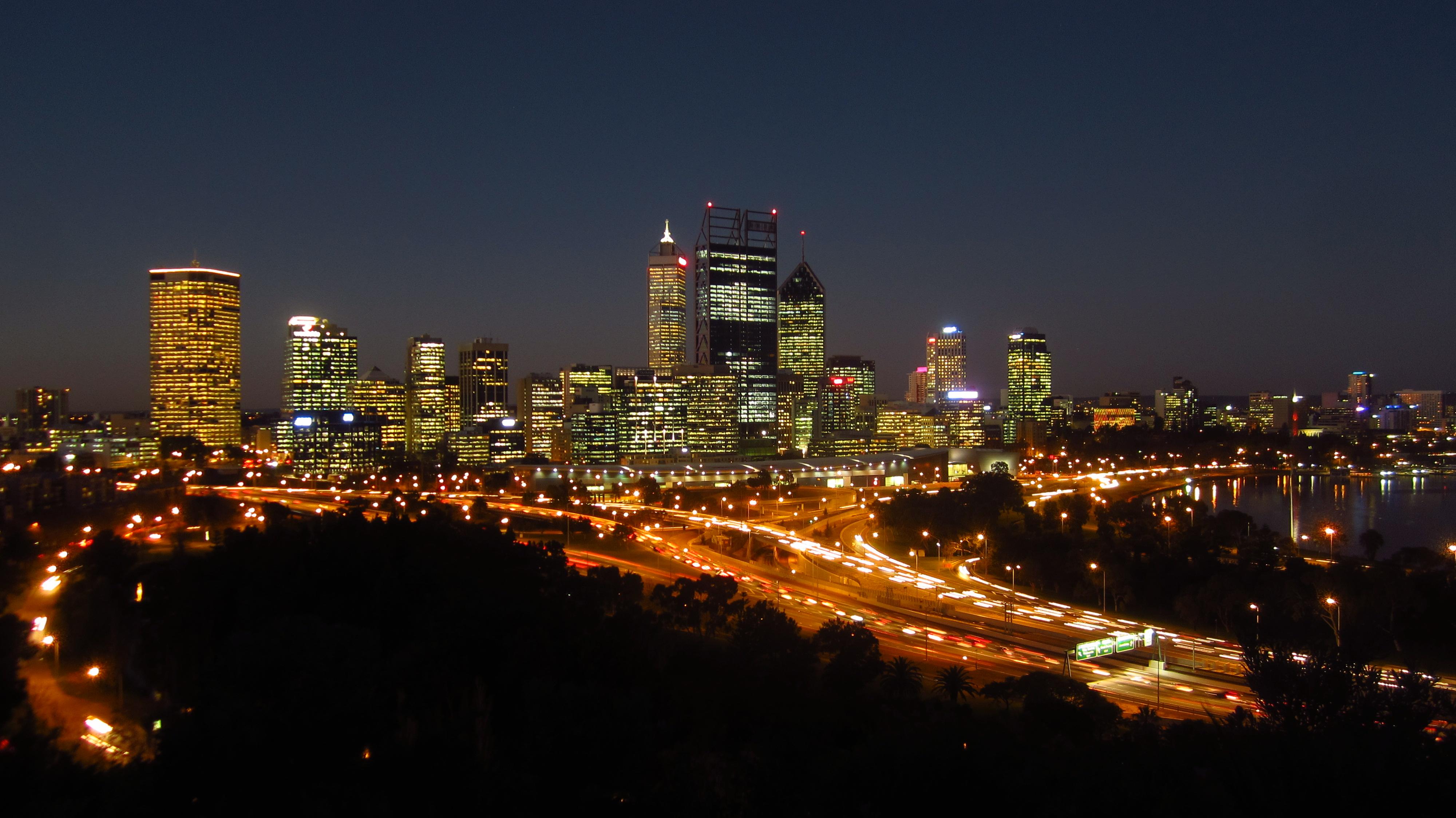 Die sakekern van Perth, hoofstad van Wes-Australië
