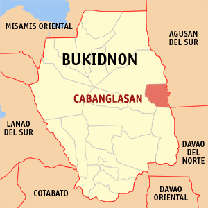 Map of Bukidnon showing the location of Cabanglasan