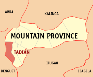 Map of Mountain Province showing the location of Tadian