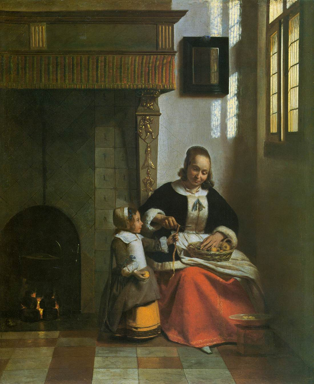 Famous Interior Paintings: A Woman Peeling Apples