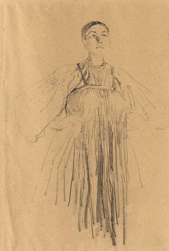 Description portrait of russian peasant women - sketch by f. malyavin