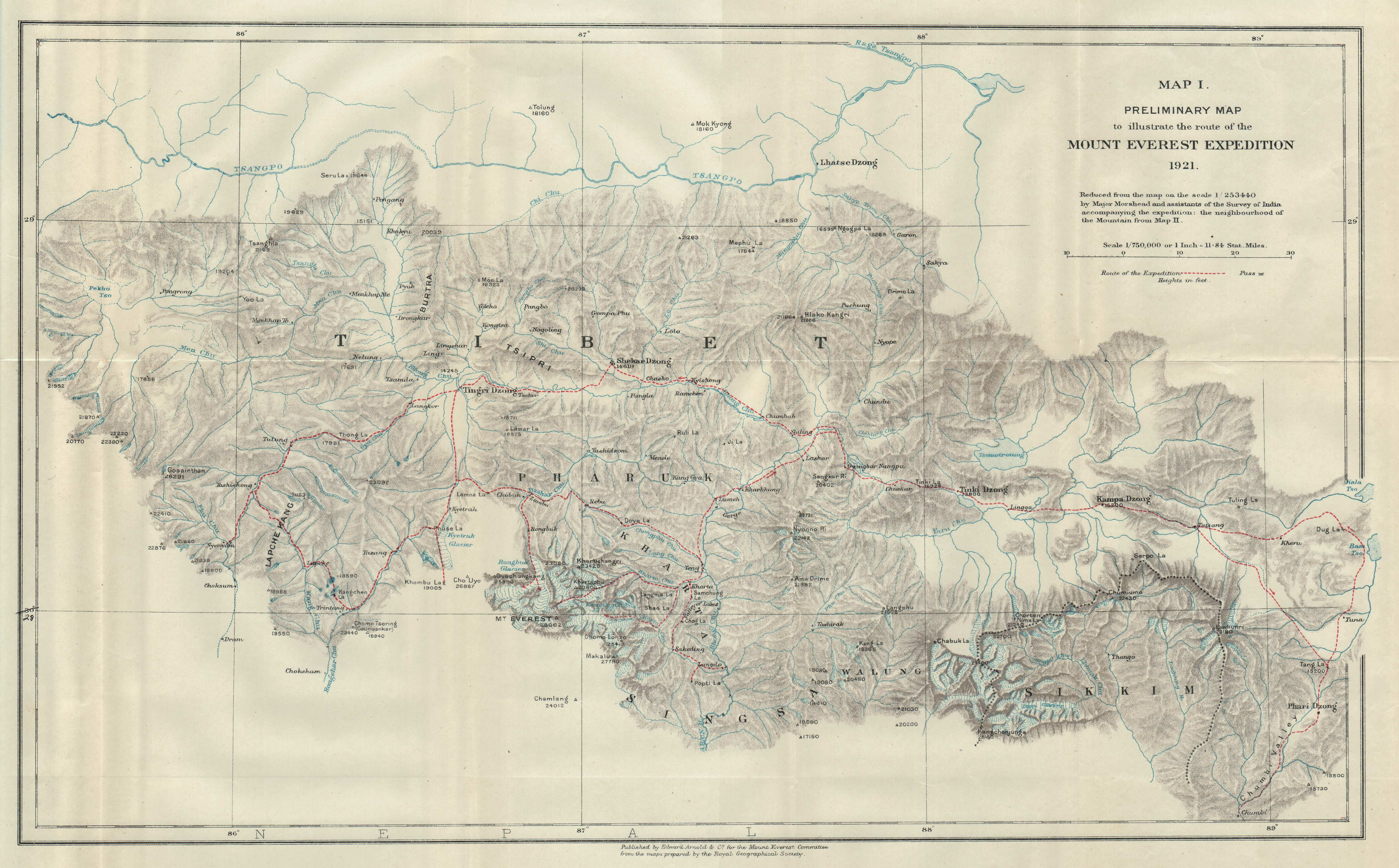 File:Preliminary map of Mount Everest Expedition, 1921. Map I.jpg ...