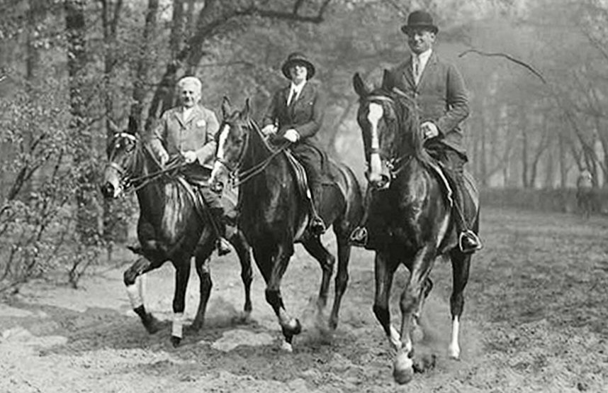 Joseph (right) and Friederike (Friedl) Roth nee Reichler horseback riding with an unidentified man
