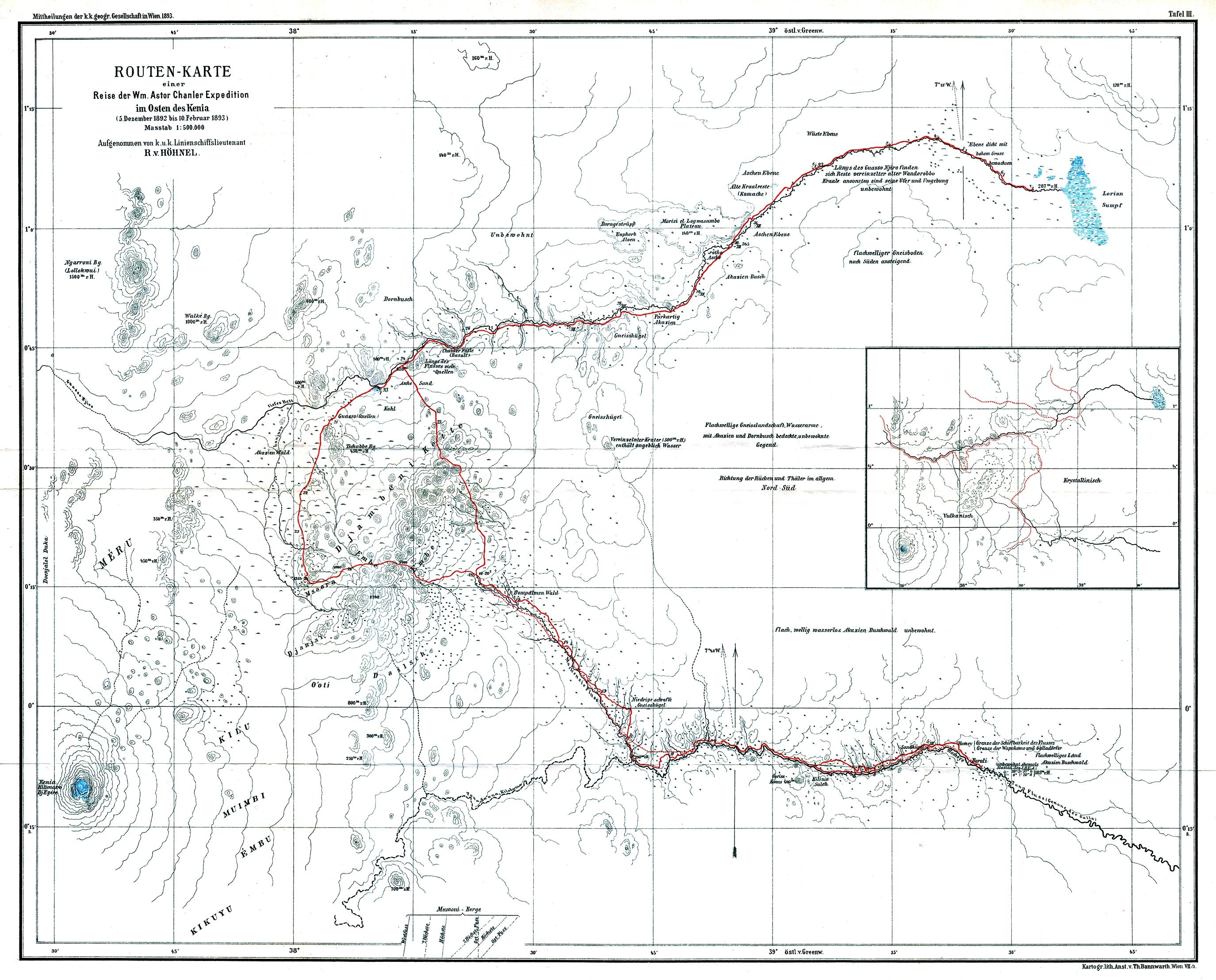 Kenia Karte.File Routen Karte Einer Reise Der Wm Astor Chanler Expedition Im