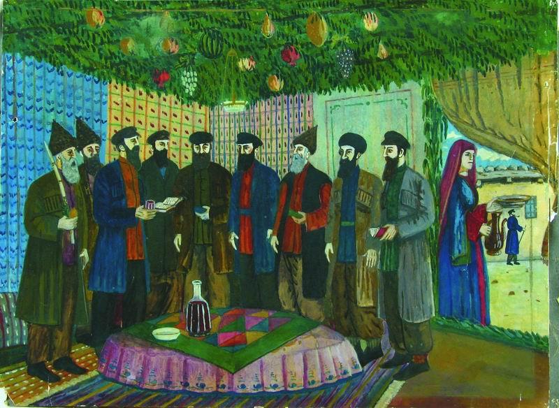 Shalom Koboshvili. Feast of Sukkot prayers. gouache on paper. 30.5×41 cm. 1938.jpg