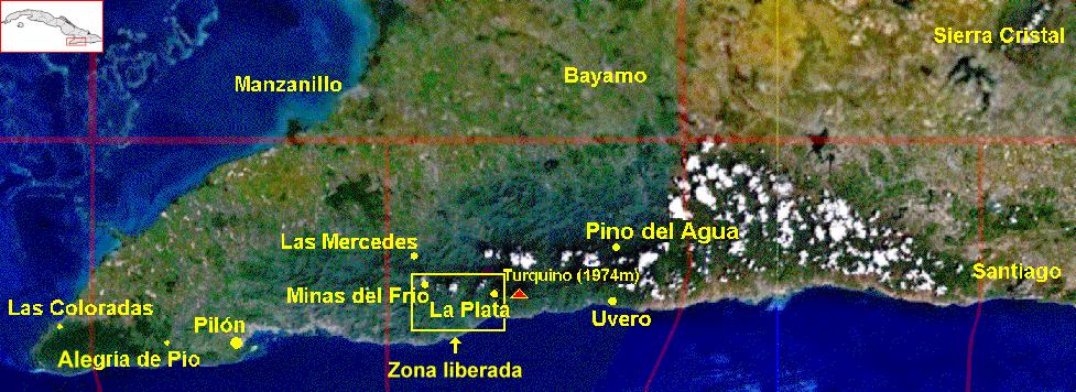 Mapa de Sierra Maestra.