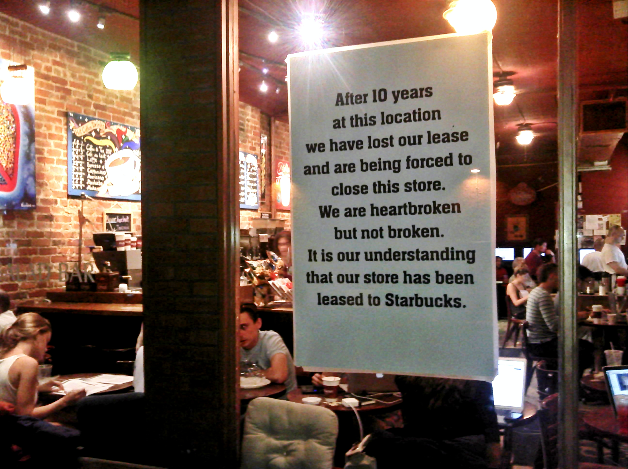 A local coffee shop in New York's East Village claiming it had to close because Starbucks is willing to pay higher rent for the space