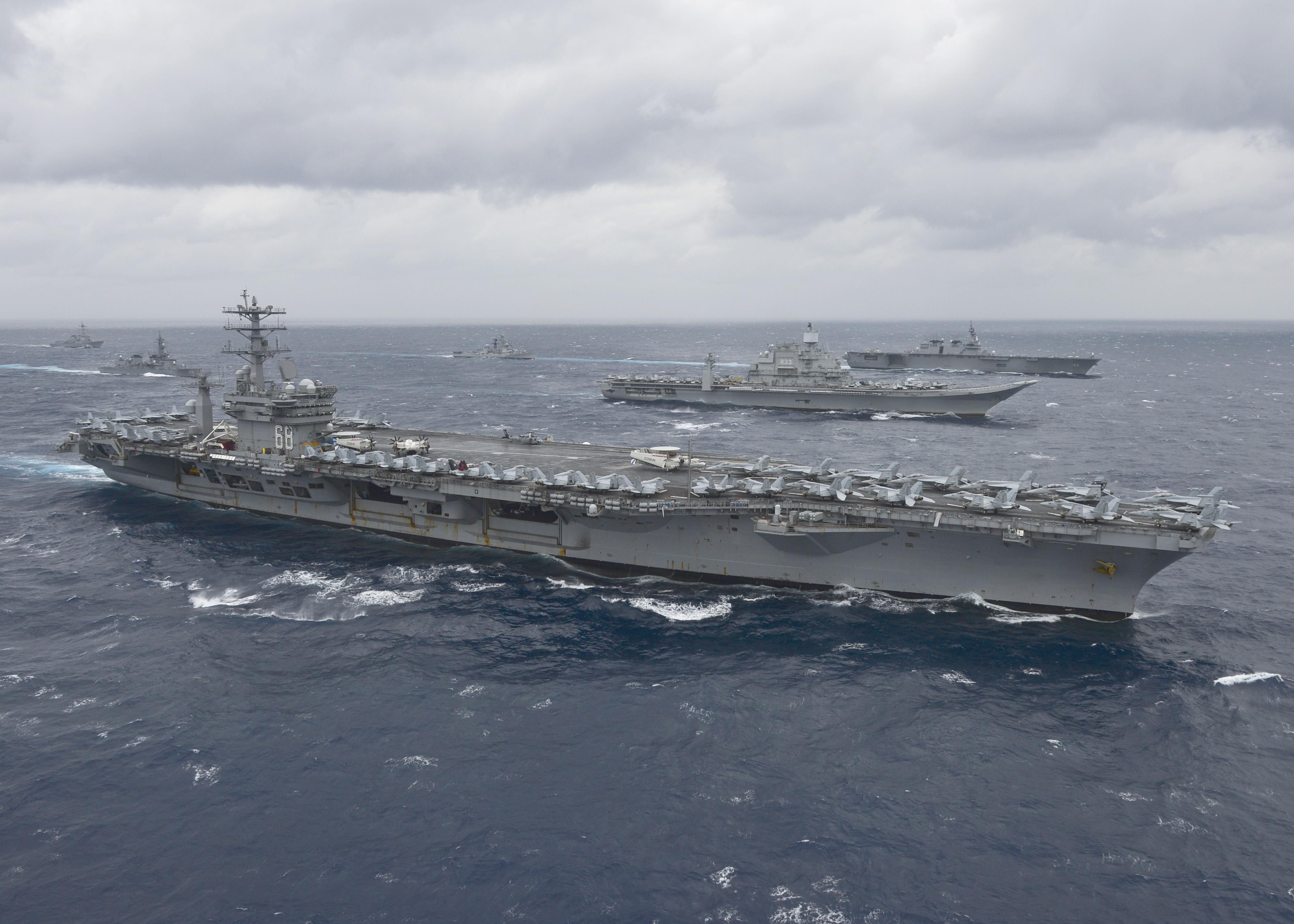 File:The aircraft carrier USS Nimitz (CVN 68) leads a