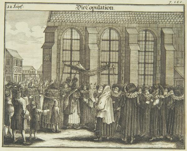 Wedding ceremony, 1724, from Juedisches Ceremoniel