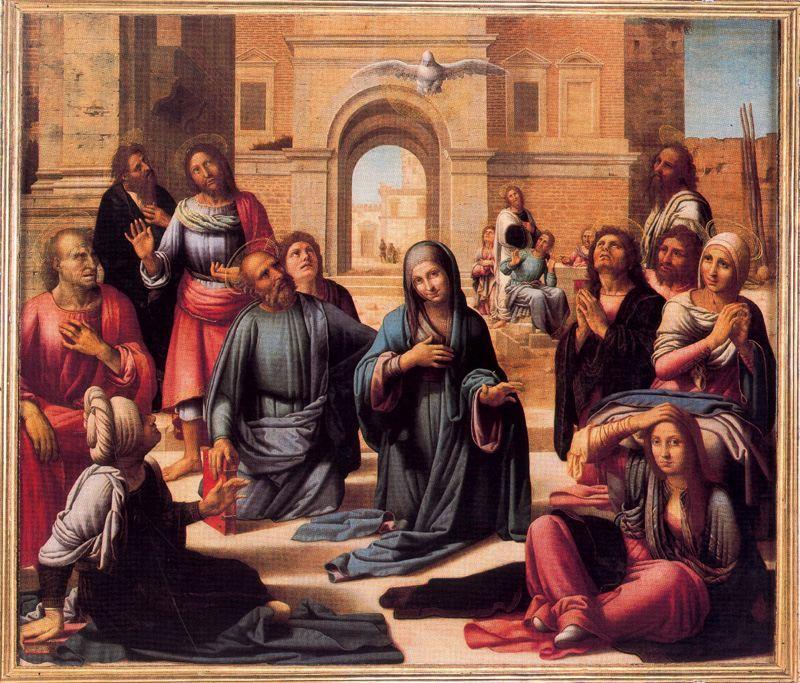 Pentecostés, de Fernando Yáñez de la Almedina. Retablo mayor de la Catedral de Valencia.