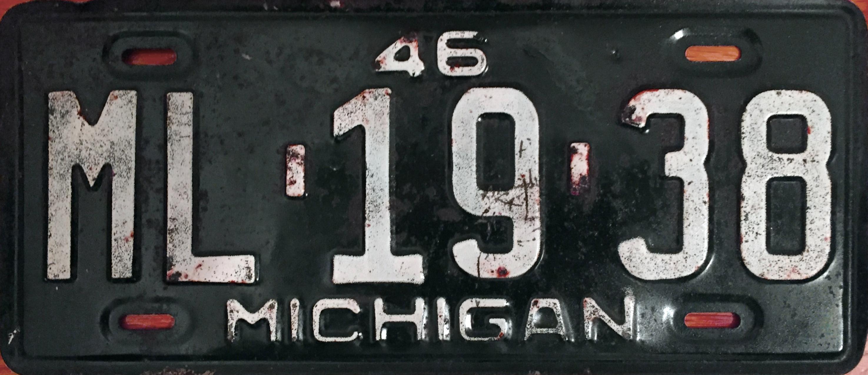 File:1946 Michigan license plate.JPG - Wikimedia Commons