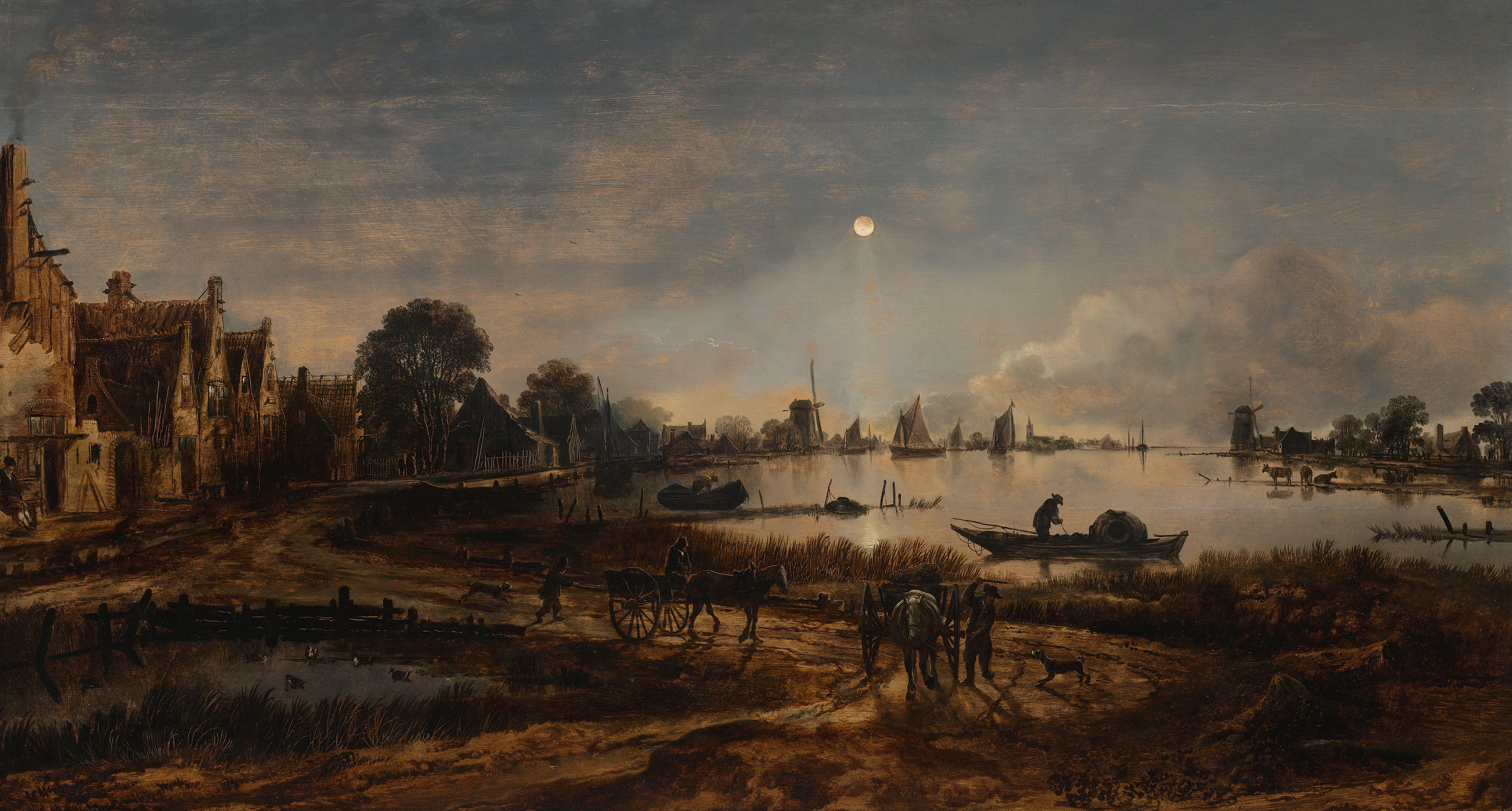 File Aert Van Der Neer Riviergezicht Bij Maanlicht