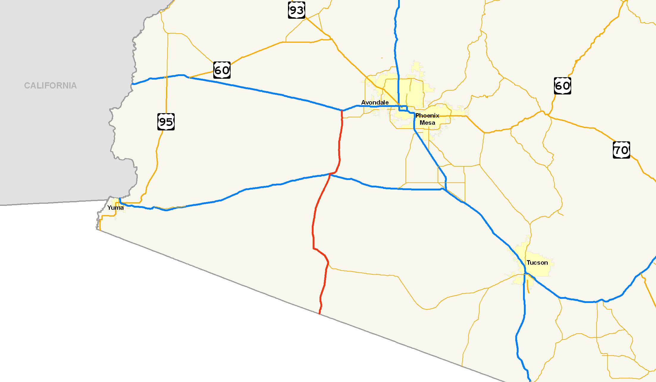 Tucson Arizona Karte.File Arizona State Route 85 Map Png Wikimedia Commons