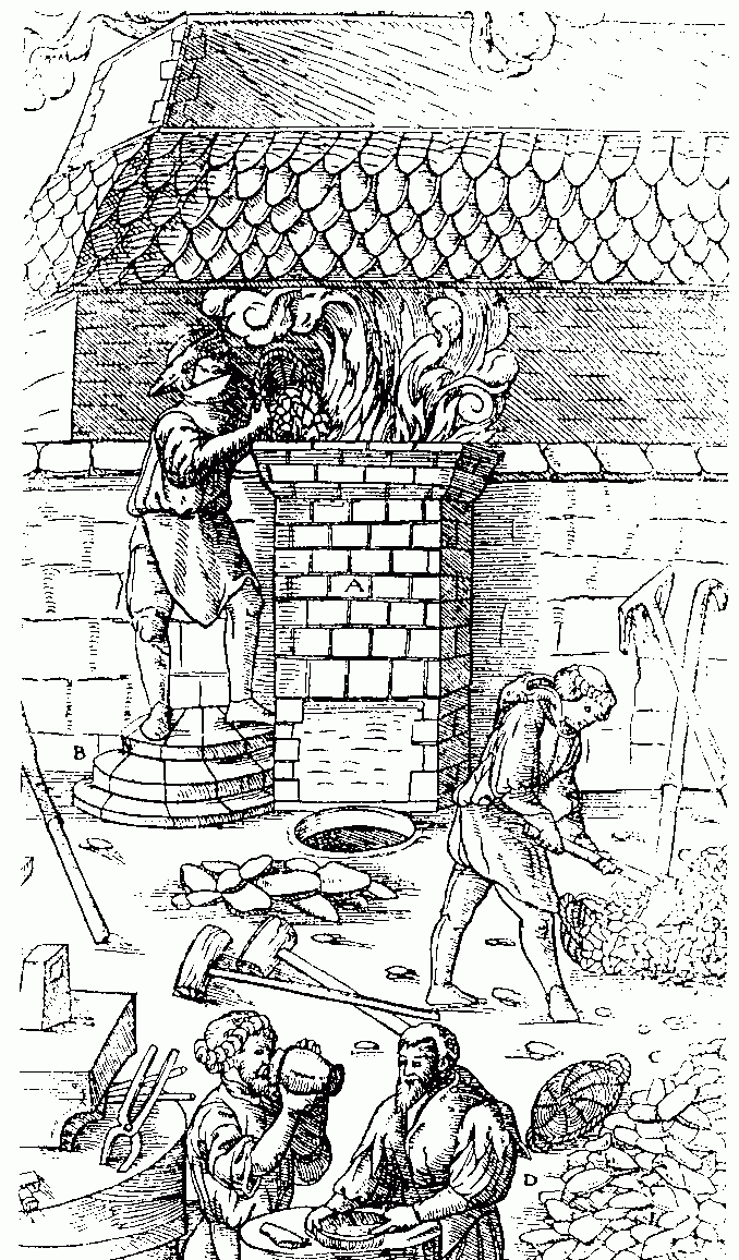 Iron smelting in the Middle Ages.