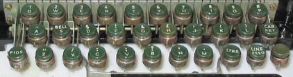 Keyboard of a Baudot teleprinter, with 32 keys, including the space bar Baudotkeyboard.png