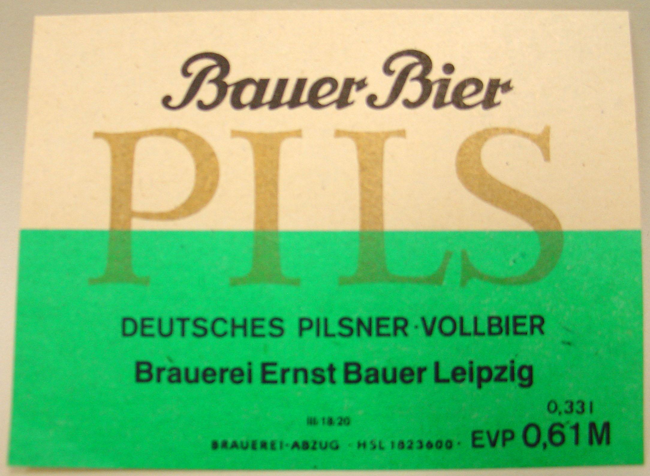Datei:Bauer Bier Pils Etikett Brauerei Ernst Bauer Leipzig (DDR).jpg ...