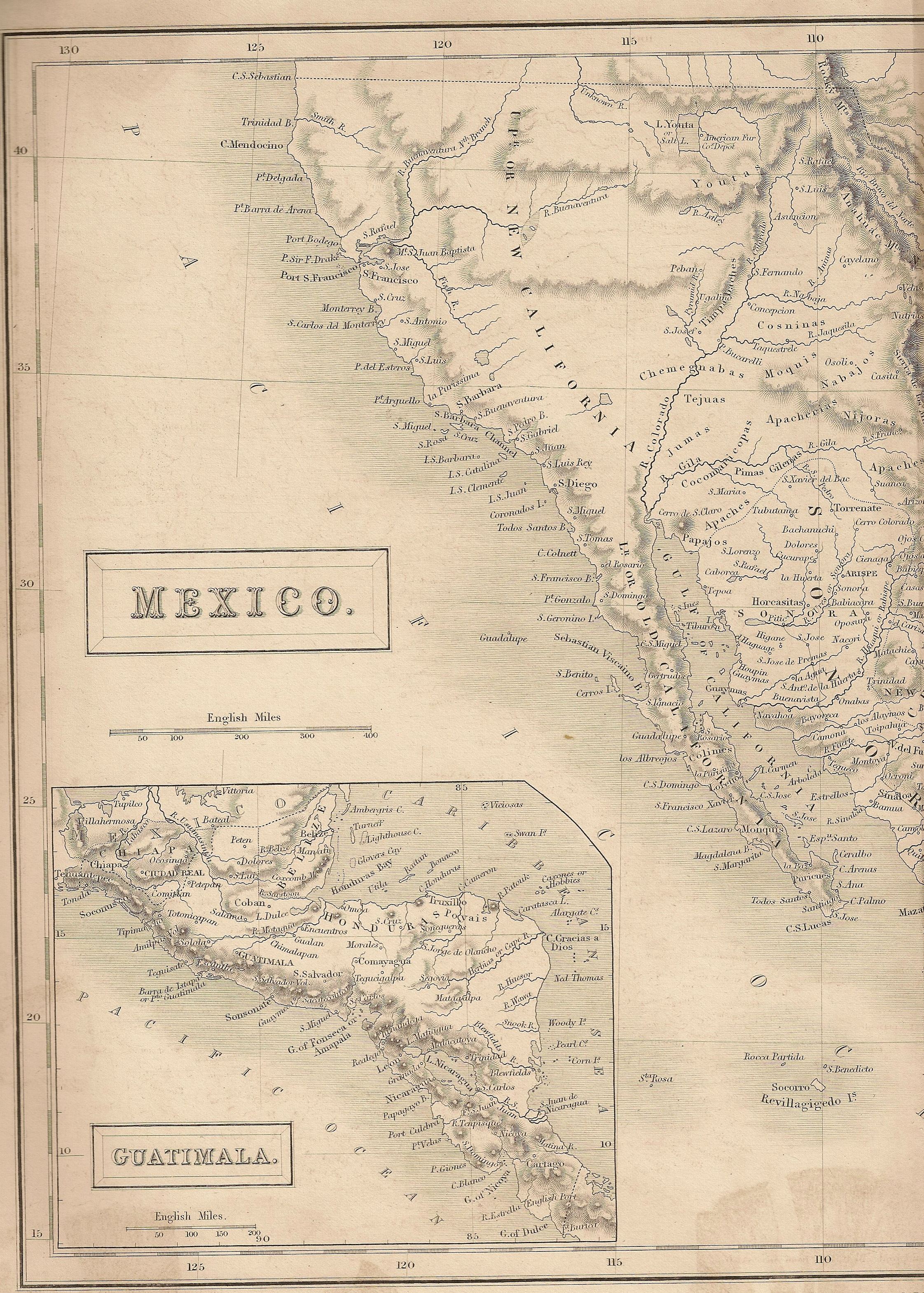 Map of CA, NV, UT and western AZ when they were part of Mexico