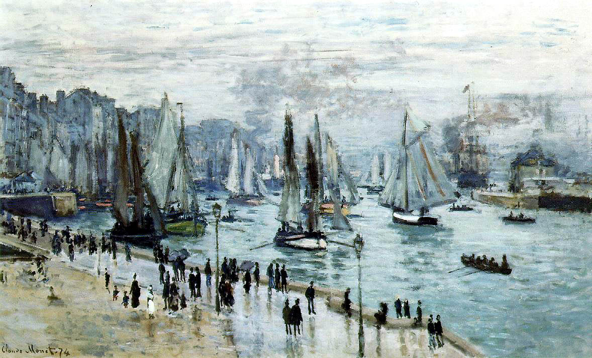 file claude monet fishing boats leaving the harbor le. Black Bedroom Furniture Sets. Home Design Ideas