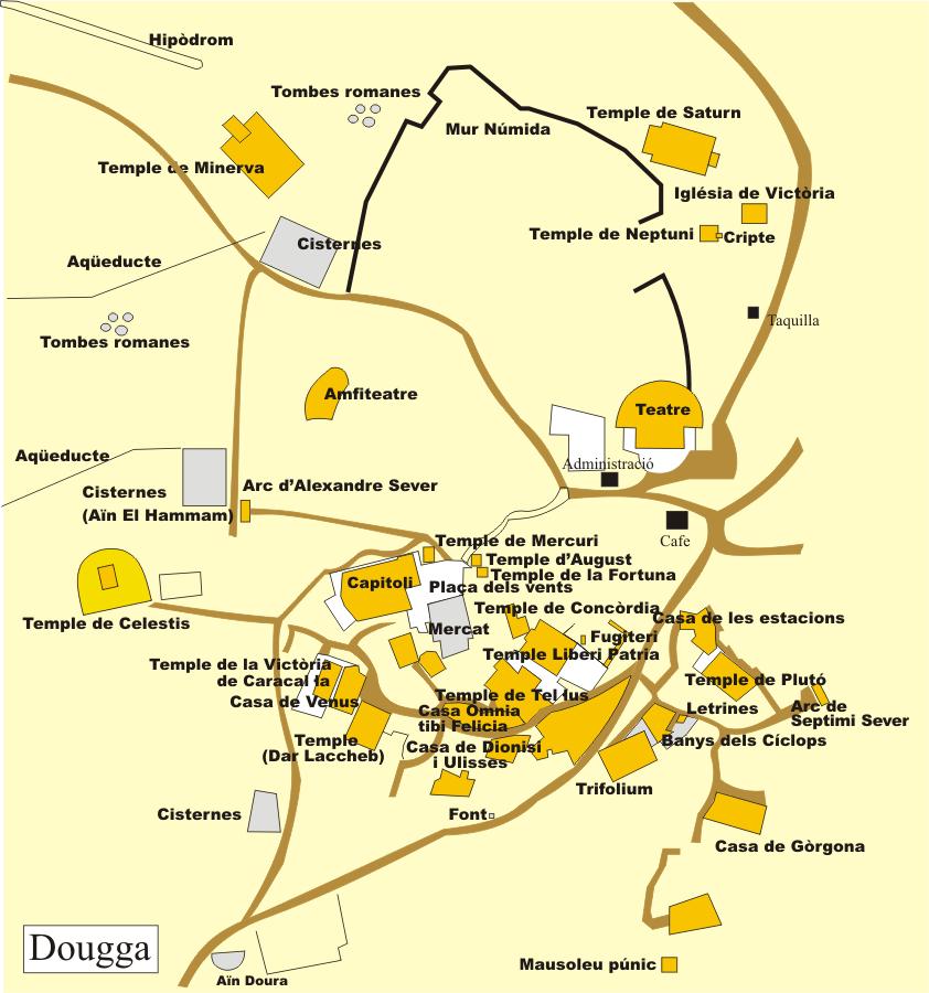 plano de localización de edificios en Dougga (wikipedia)