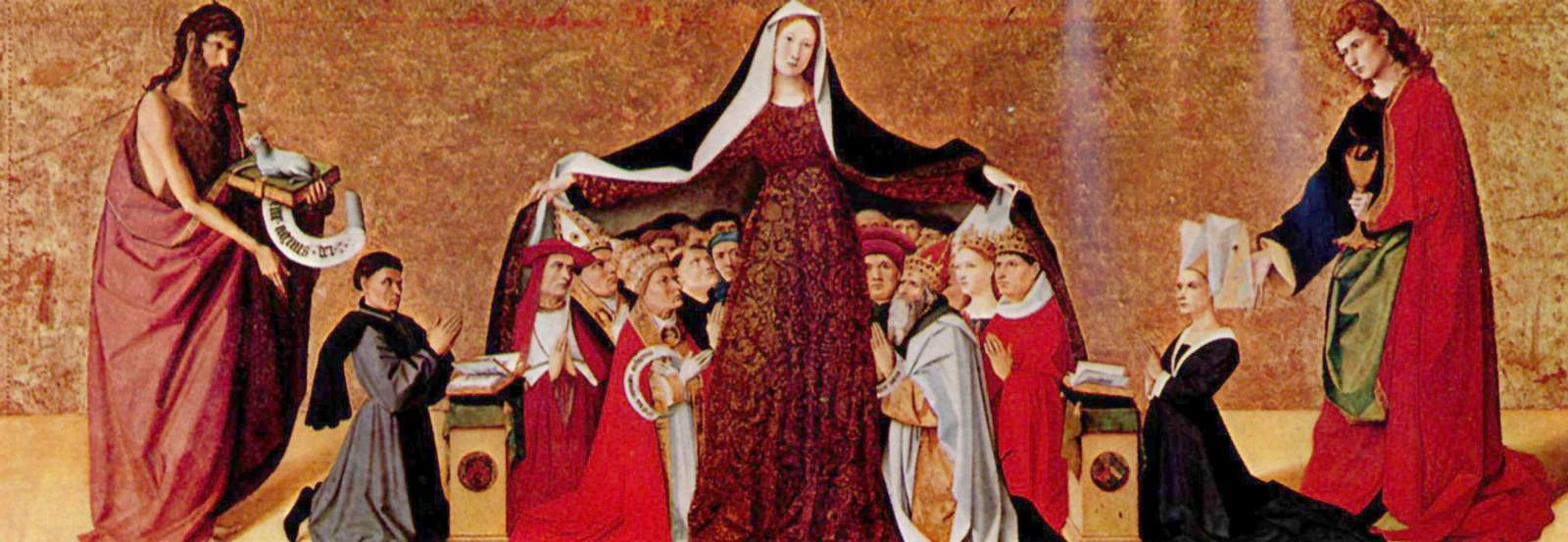 Virgen de la Misericordia. Retablo Cadard (hacia el 1444) de Enguerrand Quarton
