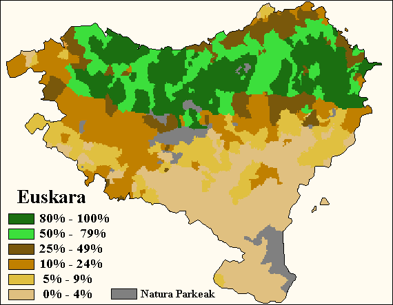 Percentage of fluent speakers of Basque (areas where Basque is not spoken are included within the 0-4% interval).