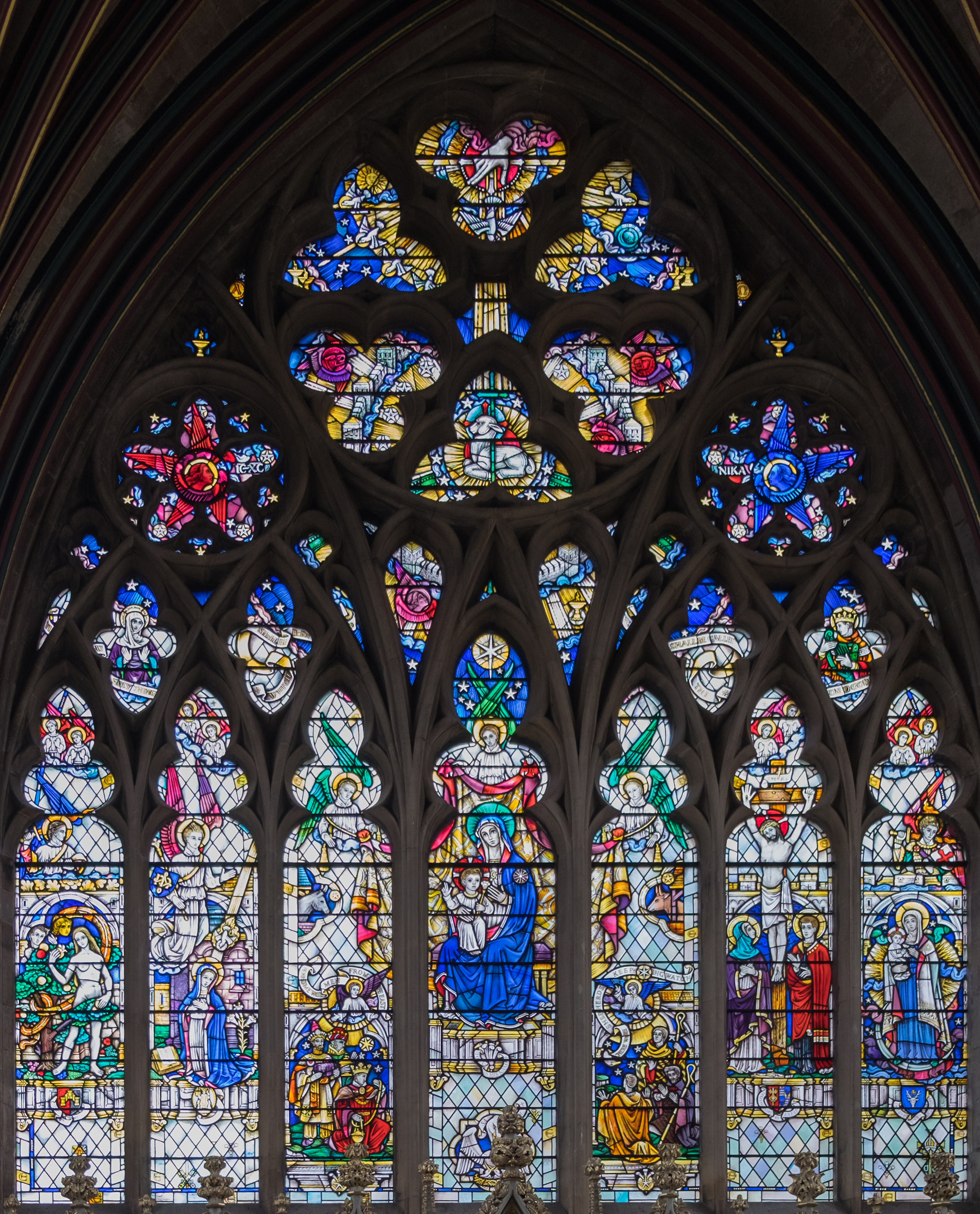 The Lady Chapel east window, containing 14th century glass
