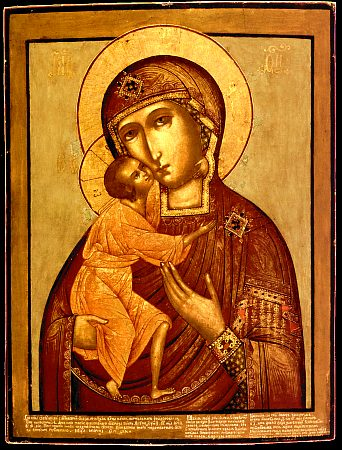 "Our Lady of St. Theodore, a 1703 copy of the 11th-century icon, following the same Byzantine ""Tender Mercy"" type as the Vladimirskaya above. Fedorovskaya.jpg"