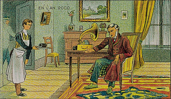 Gramophone listener in a fictionalized view of the year 2000