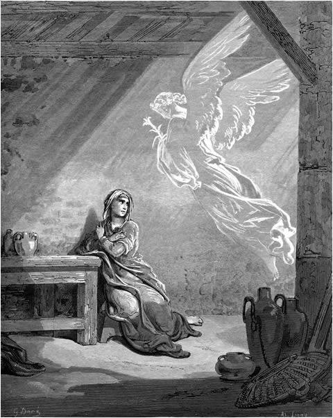 예수님의 탄생을 예고하는 천사 (귀스타브 도레, Gustave Dore, 1866년)
