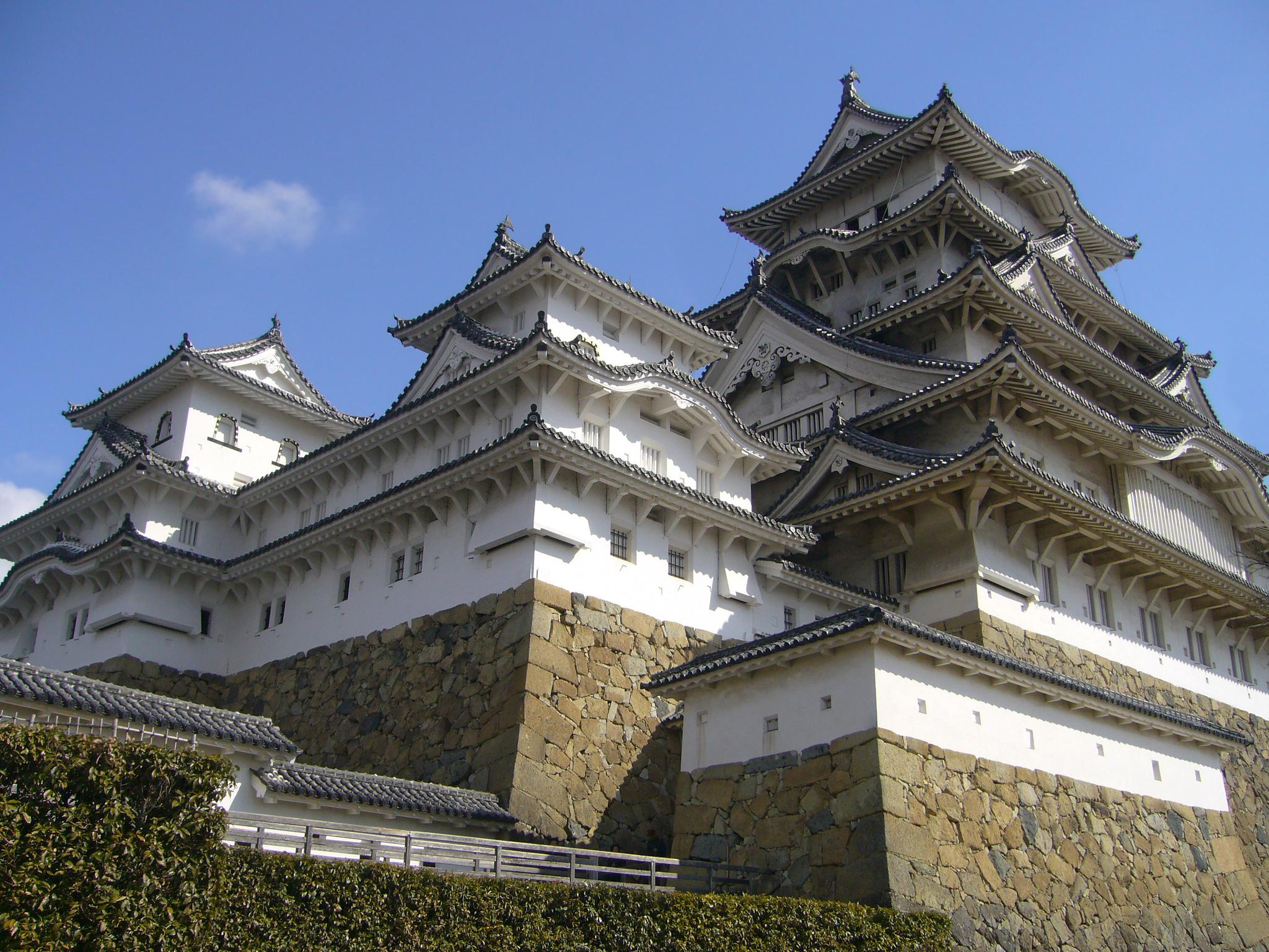 Burg Himeji eine Japanische Burg erbaut auf einem Trockenmauerwerk mit einem Fachwerkaufbau
