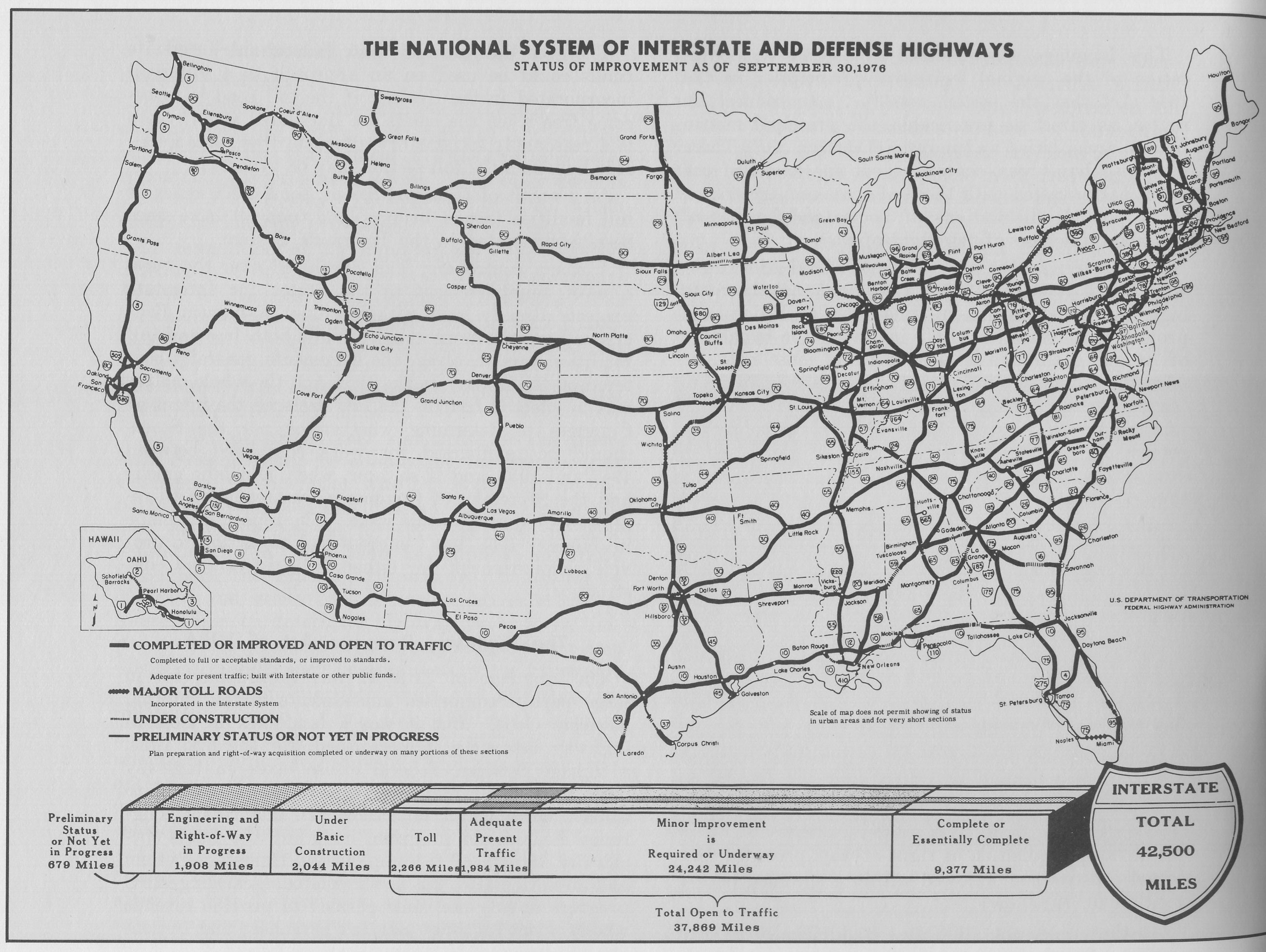 Fileinterstate Highway Status September 30 1976jpg Wikimedia - Map-of-the-us-interstate-system