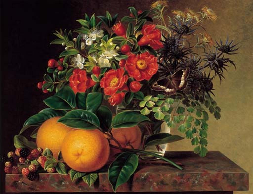 J.L. Jensen - Tidsler, tidselkugler og myrter i en glasvase - 1834.png