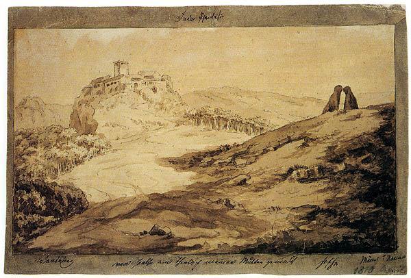 Wartburg mit Mönch und Nonne (Wartburg con un monje y una monja) pintado por Goethe. Obra datada el 14 de diciembre de 1807.