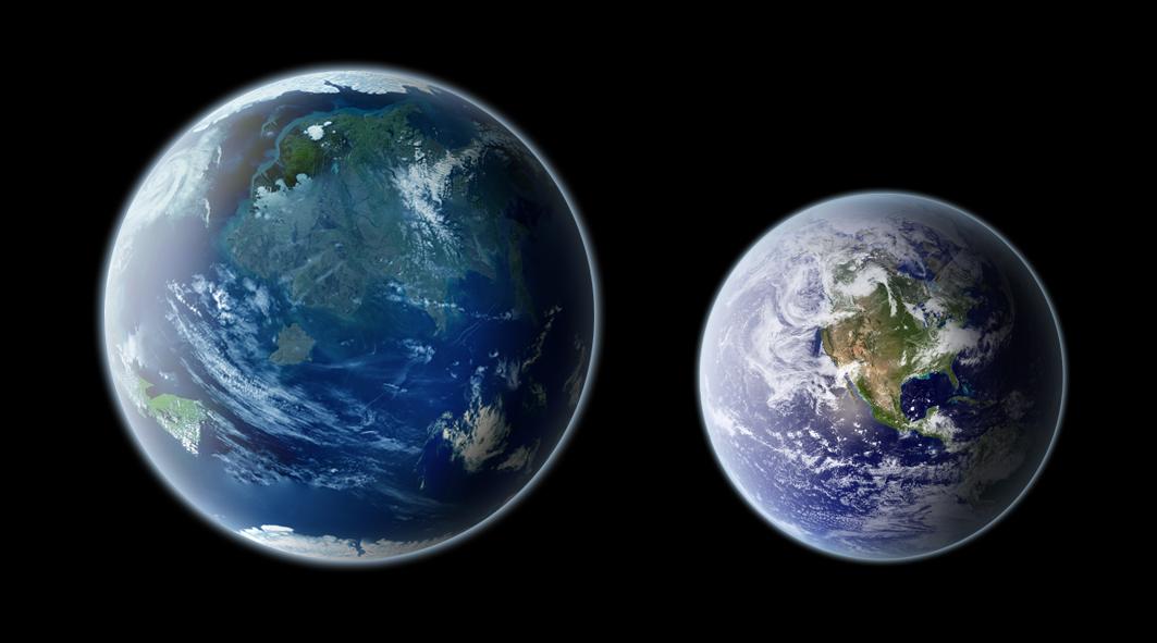 une terre jumelle dans l'espace! la preuve est imminente!  Kepler-442b_and_Earth