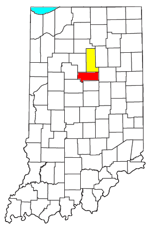 Location of the Kokomo-Peru CSA and its components: Kokomo Metropolitan Statistical Area Peru Micropolitan Statistical Area Kokomo-Peru CSA.png