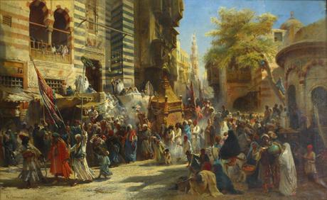https://upload.wikimedia.org/wikipedia/commons/a/ac/Konstantin_Makovsky._Muhammed%27s_carpet_moving_from_Mecca_to_Cairo.jpg