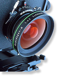 Lens and mounting of a large-format camera.