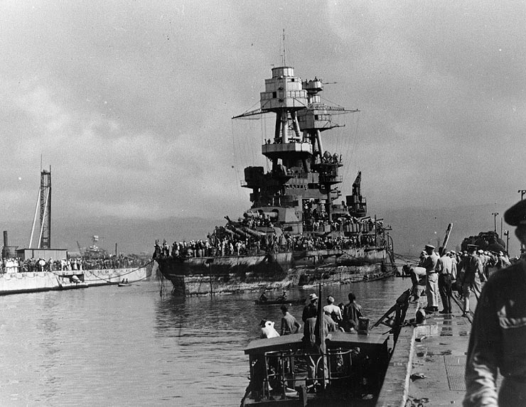 Nevada enters drydock on 18 Feb 1942 after refloating NHC- 83056.jpg
