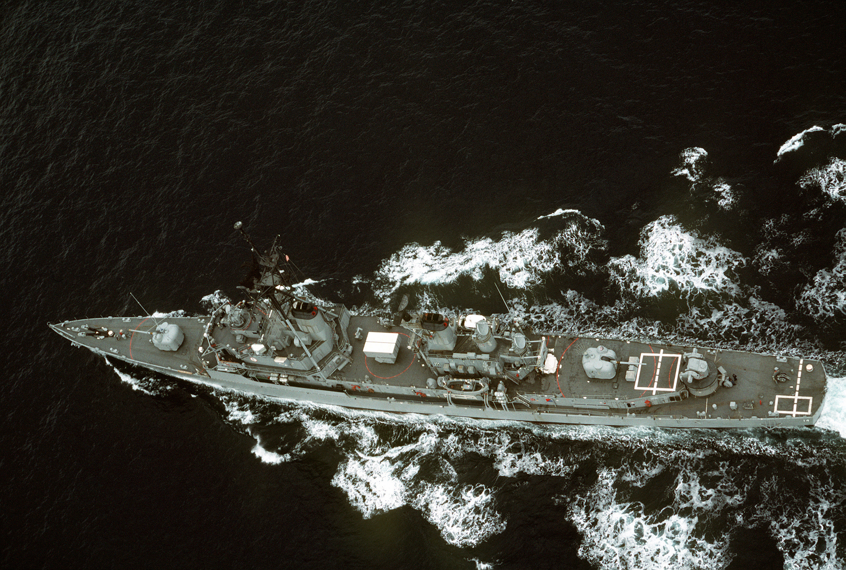 Overhead view of USS Buchanan (DDG-14) underway in the Pacific Ocean, in 1990 (6467508).jpg