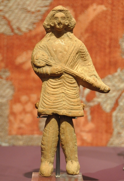 Parthian long-necked lute, c. 3 BC -- 3 AD Parthian lute player.jpg