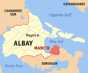 Map of Albay showing the location of Manito