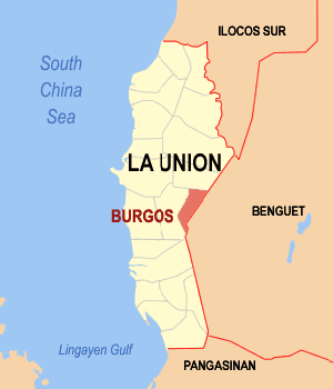 Map of La Union showing the location of Burgos