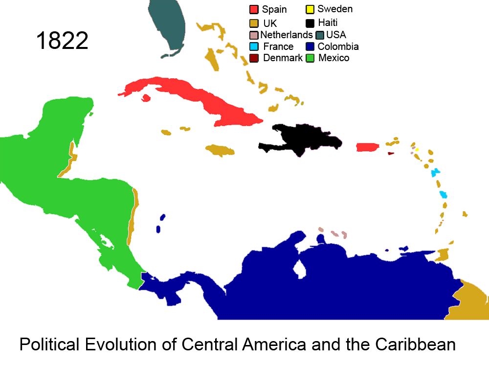 FilePolitical Evolution of Central America and the Caribbean 1822