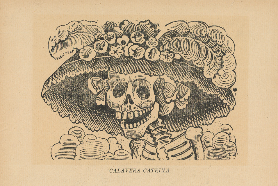 Calavera Catrina, A Skeleton Wearing a Fancy Hat with Feathers and Flowers on it