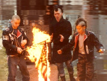 90s Male Punk Icons Punks burning a u.s. flag in