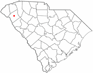 Location of Anderson in Anderson County, South Carolina, U.S.A.