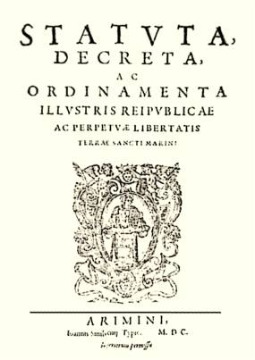 The San Marino constitution of 1600