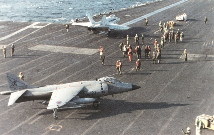 File:Sea Harrier FRS.1 of 800 NAS and FA-18C of VFA-86 on USS ...